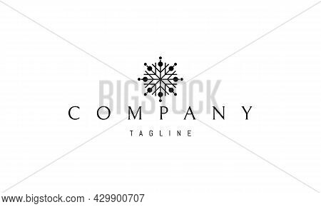 Vector Logo On Which An Abstract Image Of A Snowflake In The Form Of A Flower.