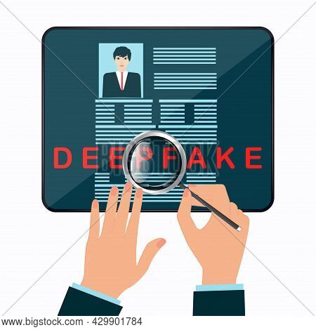 Deepfake. Magnifier In Hand. Article On The Site. Control Over False Information. Falsification. Art