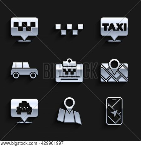 Set Taxi Driver License, Folded Map With Location, City Navigation, Gps Device, Location Taxi, Car,