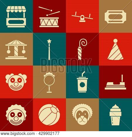 Set Ice Cream, Bumper Car, Party Hat, Seesaw, Magic Wand, Attraction Carousel, Fast Street Food Cart