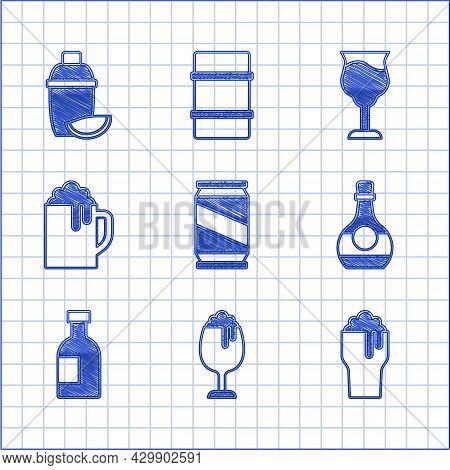 Set Beer Can, Glass Of Beer, Bottle Cognac Or Brandy, Bottle Vodka, Wooden Mug, Wine Glass And Cockt