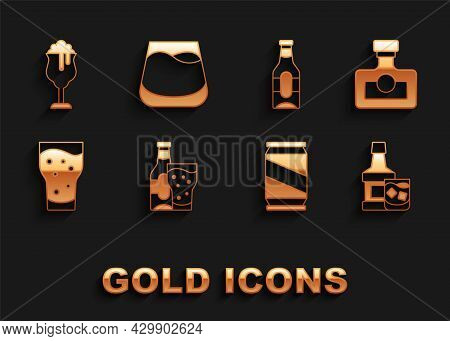 Set Beer Bottle And Glass, Alcohol Drink Rum, Whiskey, Can, Glass Of Beer, And Whiskey Icon. Vector