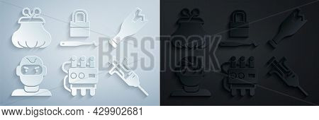 Set Dynamite And Timer Clock, Broken Bottle As Weapon, Thief Mask, Syringe, Lock Picks For Picking A