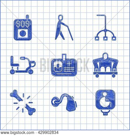 Set Identification Badge, Hearing Aid, Disabled Wheelchair, Man Without Legs Sitting, Human Broken B