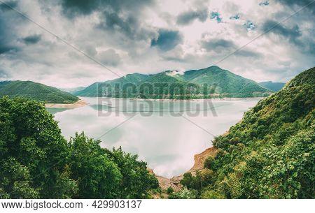 Zhinvali Reservoir In Georgia, Dusheti Municipality, Mtiuleti Region, On River Aragvi. It Has One Of