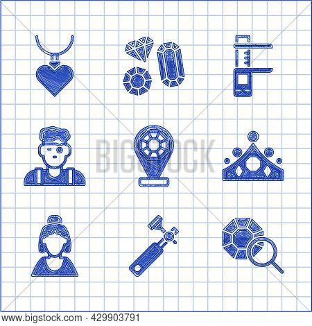 Set Jewelry Store, Jewelers Lupe, Gem Stone, King Crown, Consultant Of Jewelry, Man, Calliper Calipe