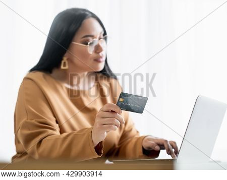 Online Shopping. Business Woman. Corporate Client. Bank Service. Smiling Elegant Lady Typing Laptop