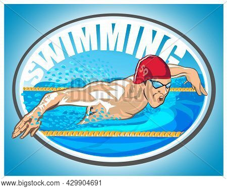 Young Swimmer In Swimming Pool Competing In The Swimming Competition.  Asian Sportswoman Wearing Cap