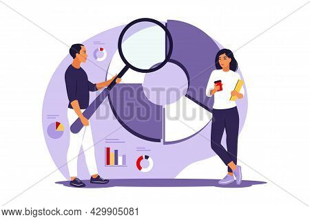 Statistical Analysis Concept. Analysis For Business Finance. People Team Working On Circular Diagram