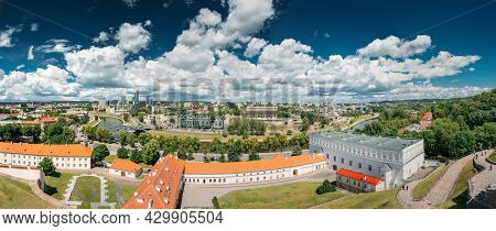 Vilnius, Lithuania. Modern City And Part Of Old Town Under Dramatic Sky In Summer Day. New Arsenal,