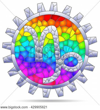 Illustration In The Style Of A Stained Glass Window With The Zodiac Sign Capricorn, The Symbol Is Is