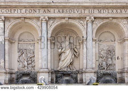 Facade Of Fontana Dell'acqua Felice In Rome, Italy