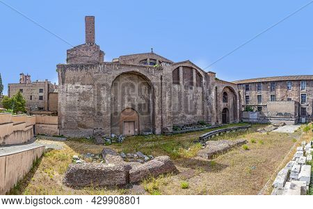 Rome, Italy - August 1, 2021: View To The Ruins Of Baths Of Diocletian, A Historic Public Bath From