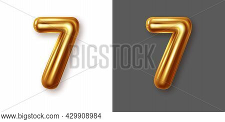 Metallic Gold Numeral Symbol - 7. Creative Vector Illustration