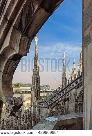 Milan, Italy - October 2, 2018: Top View From The Roof Of Duomo Di Milano Cathedral With Marble Stat