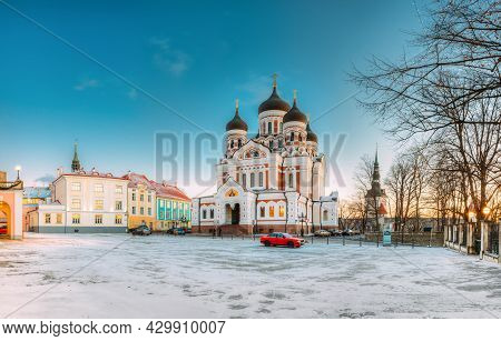 Tallinn, Estonia. Morning View Of Alexander Nevsky Cathedral. Famous Orthodox Cathedral Is Tallinns