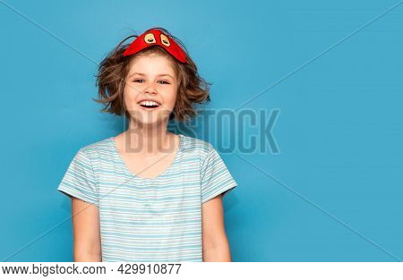 Happy Portrait Of Cute Adorable Kid. Child Girl In Mask For Sleeping. Beautiful Girl Want To Sleep,