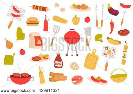 Barbeque Picnic Isolated Objects Set. Collection Of Bbq Party, Cooking Meat Dishes, Sausage, Steak,