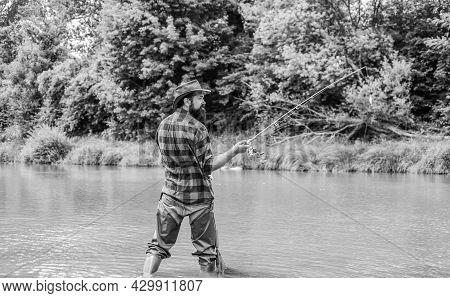 Fishing Is The Reel Deal. Summer Weekend. Big Game Fishing. Mature Man Fly Fishing. Man Catching Fis