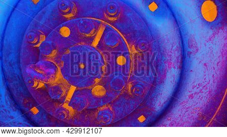 Abstract Technical Background, Orange Blue Coloured. Heavy Machinery, Piece Of Iron With Bolts
