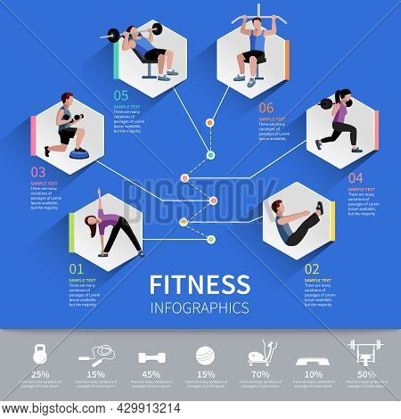 Fitness Aerobic And Muscle Strength Development Program Hexagon Pictograms  Infographic Presentation