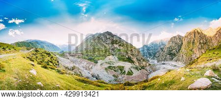 Evening In The Daryal Gorge. Beautiful Blue Sky Over Mountains And Rocks In Darial Gorge, Kazbegi Di