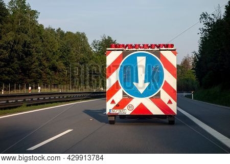 Czech Republic - May 26, 2019: The Road Assistance And Construction Vehicle With A Traffic Sign Cont