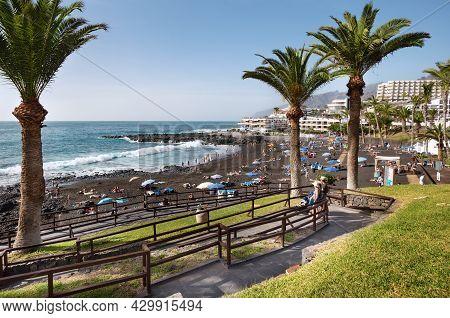 Playa De La Arena, Tenerife, Spain - February 17, 2019: View Of Black Sand Beach With Facilities On