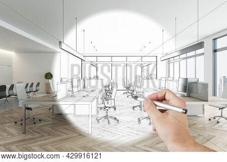 Hand Drawn Coworking Meeting Room Interior With Daylight, Furniture And Equipment. Design, Refurbish