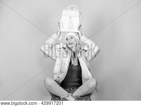 Tender Combination. Matching Accessories. Fashion Accessory. Girl Adorable Model Showing Her Fancy L