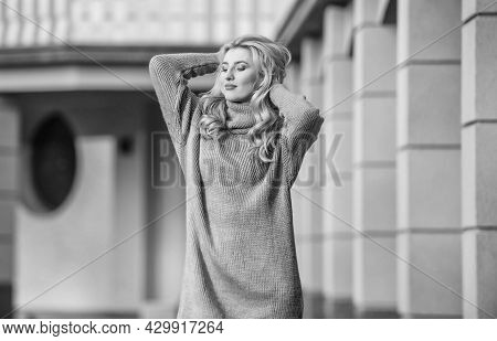Beauty In Style. Cashmere Woolen Sweater. Warm Oversized Clothes. Sexy Woman Sunny Weather Outdoor.