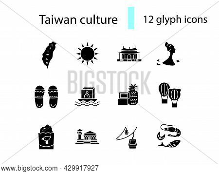 Taiwan Items Glyph Icons Set. Taiwanese Features. Flag And Island. Isolated Vector Stock Illustratio