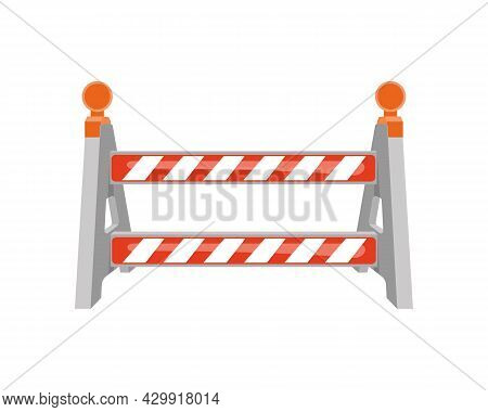 Road Barrier With Warning Lights. Striped Traffic Obstacle Isolated On White Background. Work Zone S