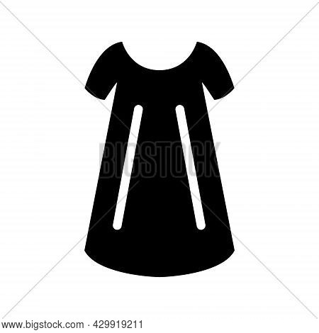 Size Free Woman Gown Glyph Icon. Baby Doll Style. Homewear And Sleepwear. Black Filled Symbol. Isola