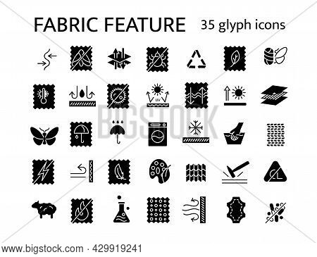 Fabric Feature Glyph Icons Set. Fiber Type. Different Properties Of Textile. Wear Quality. Windproof