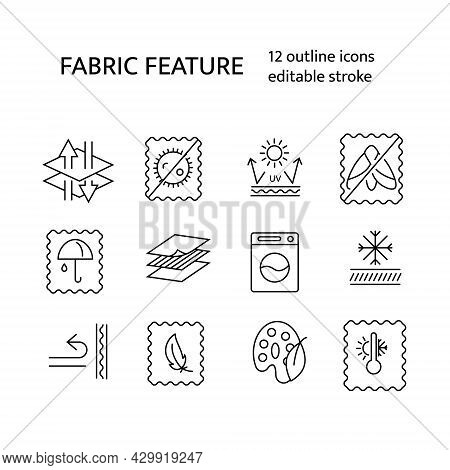 Textile Quality Outline Icons Set. Wear Industry. Fabric Feature. Breathable Fabric, Mole Protection