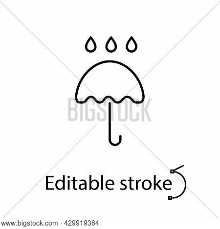Umbrella With Rain Drops Outline Icon. Fabric Feature. Textile Industry. Material Quality. Fiber Typ