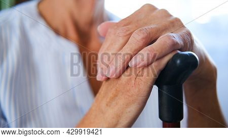 Caucasian Old Senior Grandmother Holding Walking Cane Stick In Hands. Old Wrinkled Hands Of A Grandm