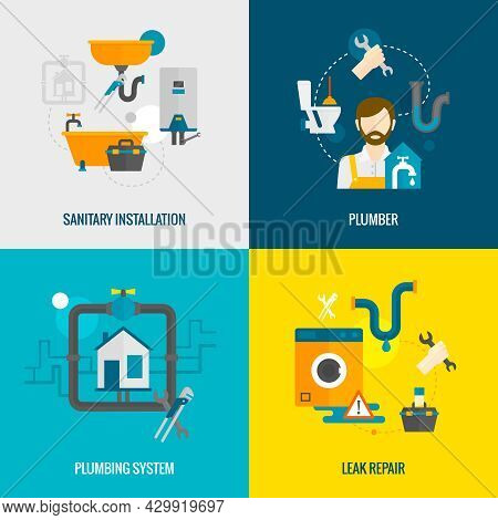 Plumber Design Concept Set With Sanitary Installation Leak Repair Flat Icons Isolated Vector Illustr