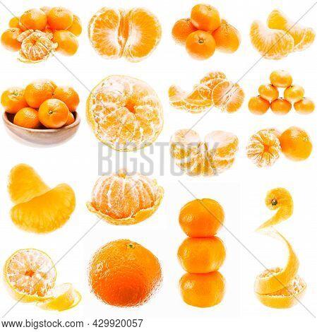 Set Or Collage Of Many Mandarin Orange Fruits Isolated On White Background. Healthy Food. Mandarins