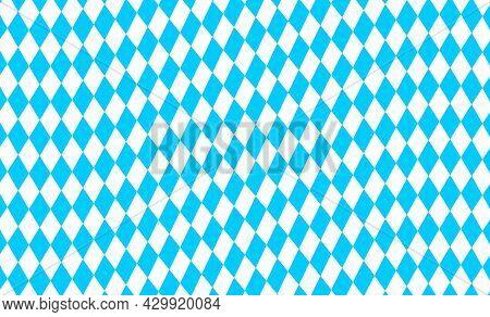 Waved Bavarian Flag Lozenges Seamless Pattern. Oktoberfest Background With Blue And White Rhombus. B