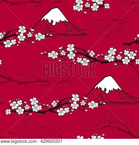 Japanese Seamless Pattern With Sakura Blossoms And Fuji Mountains Vector Illustration