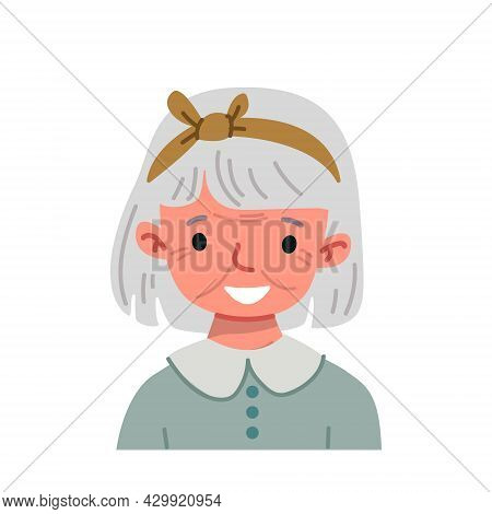 Cartoon Gray-haired Old Woman Avatar With Short Hair. Funny Old Character Avatar On A White Backgrou