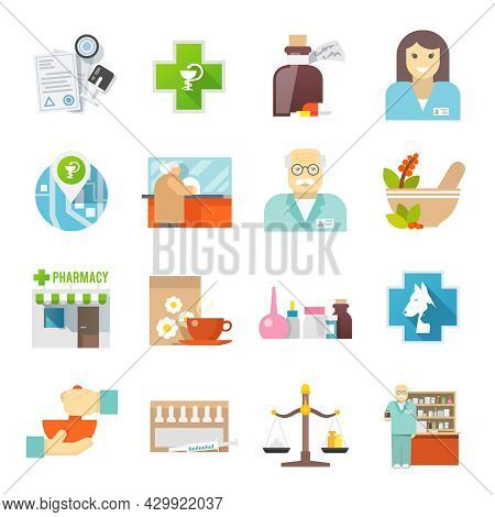 Pharmacy And Veterinary Chemist Shop Flat Icons Set With Pills And Herbs Mortar Abstract  Isolated V