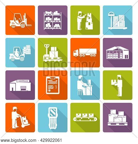 Warehouse Flat Long Shadow Icons Set With Shipment And Delivery Symbols Isolated Vector Illustration