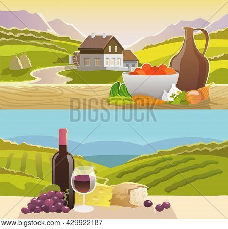 Mountain Landscape Horizontal Banner Set With Wine And Vegetables Still Life Flat Elements Isolated