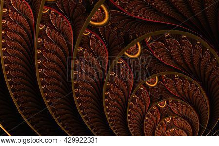 Abstract Stain Glass Pattern. Illustration In Stained Glass Style With Abstract Swirls And Leaves, H