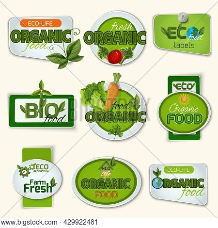 Bio And Organic Food Farm And Life Green Badges Set Isolated Vector Illustration