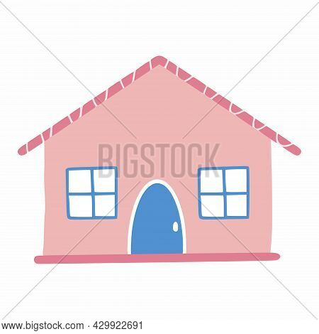 Small Pink House In Cartoon Style. Vector Sticker.