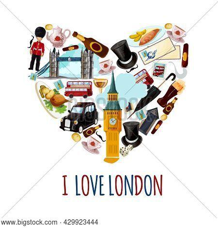 London Touristic Poster With Cartoon Tourist Landmarks In Heart Shape Vector Illustration